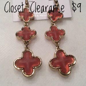 Jewelry - Red Quatrefoil Dangle Earrings